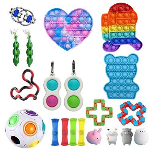 KTNAJOL Sensory Fidget Toys,Push pop pop Autism Special Dimple Sensory Toys Sets for Kids Adults,Fidget Pad,Stress Balls,Marble and Mesh,Pop Tubes,Fidget Spinner,Stretchy Strings