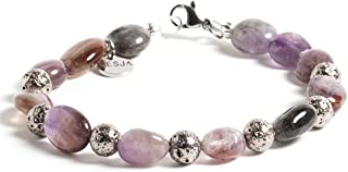 Braccialetto donna Desja pietra dura naturale Quarzo Rosa Rutilato e Lava Vulcanica color Argento con chiusura