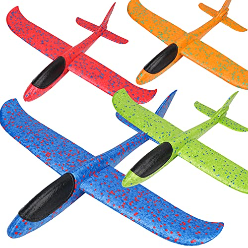 BooTaa 2 Pack Airplane Toys, 13.7″ Large Throwing Foam Plane, 2 Flight Mode Glider Plane, Flying Toy for Kids, Gifts for 3 4 5 6 7 Year Old Boy, Outdoor Sport Toys Birthday Party Favors Foam Airplane