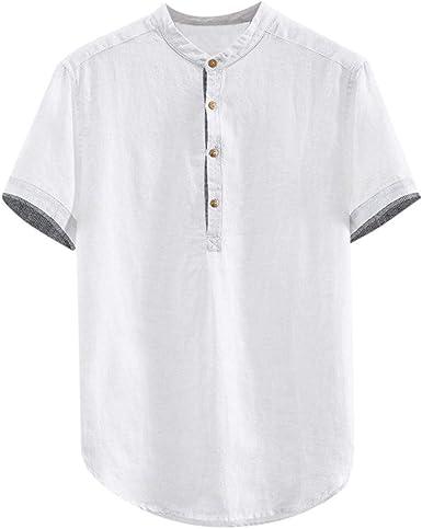 Hombre Cuello En V Camisetas Manga Larga Botón En Slim para ...