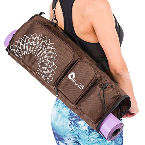 Yoga Mat Bag with Separate Shoe Compartment, Padded Pockets and Metallic Accessories (Black)