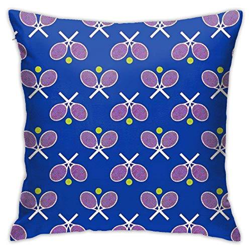 AOOEDM Funda de Almohada Azul para Raquetas de Tenis Funda de Almohada Suave para Dormitorio/Sala de Estar/sofá/casa de Campo Decorativos Fundas de cojín Cojín de sofá 18x18 Pulgadas 45x45 cm