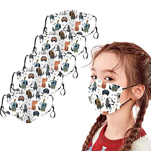 POTOU 5 Stück Kinder Atmungsaktiv Baumwolle Karikatur Drucken Draussen Staubdicht Lieferungen, Waschbar und Wiederverwendbar