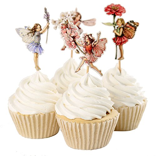 Fumee Set of 24 Pieces Fairy Flower Theme Party Decoration Cupcake Topper Girls Birthday Party