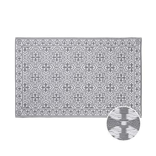 Butlers Colour Clash - 180x118 cm In- & Outdoor Teppich Kacheln - Teppich in Grau-Weiß - für Balkon und Terrasse geeignet