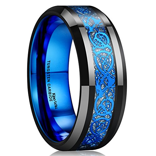 King Will Dragon Mens Black Tungsten Carbide Ring 8mm Blue Celtic Dragon Wedding Band Comfort Fit High Polished(10)