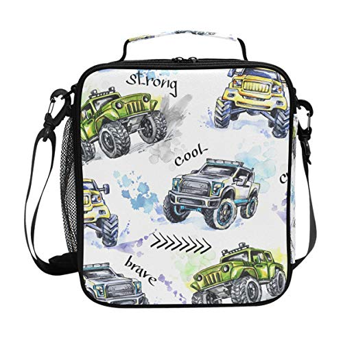 FOLPPLY Vintage Retro Cartoon Monster Trucks Pattern Lunch Bag, Zipper Insulated Cooler Tote Bag, Lunchbox Meal Prep Handbag for Picnic School Women Men Kids