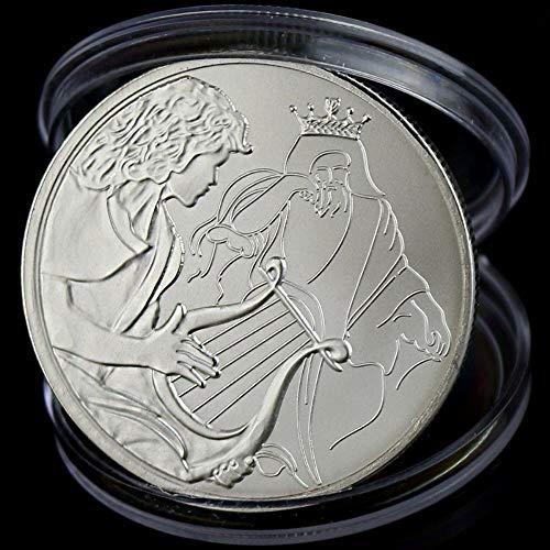 Israel Bible Story Splittermünze von David spielte die Harfe für König Saul Souvenir Metal Craft Coins Dia 40mm