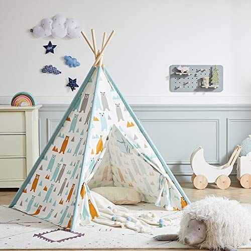 Asweets Kids Teepee Tent for Boys & Girls - Cotton Canvas Teepee Play Tent for Children Indoor and Outdoor Games, Little Bear Indian Tipi Tent with Storage Bag (4 Walls)