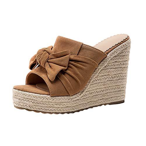 TIFIY Damen Sandalen Mode Frauen Wedge Open Toe Sandalen Damen Hausschuhe Casual Beach Walk Schuhe Modisch Grundlegend Ausgehend Jeden Tag Hausschuhe Khaki 35