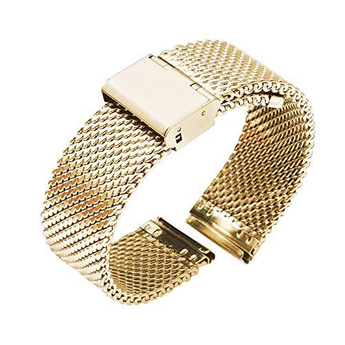 LIANYG Correa De Reloj 18 mm 20 mm 22 mm 24 mm de Reloj Universal de Reloj de Reloj de Reloj de Reloj de Reloj de Reloj de Malla de Acero Inoxidable de Malla Pulsera de Pulsera de Pulsera Negra