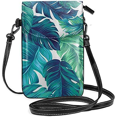 Interieur Shop telefoonhoes WalletWomens kleine tropische palmbladeren Hawaii Jungle Crossbody Bag handtas