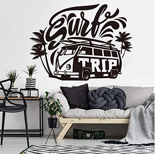 Großer Surf Trip Hippie Auto Wandtattoo Schlafzimmer Kinderzimmer Surfen Vw Volkswagen Auto Fahrzeug Palme Summer Beach Wandaufkleber 56 * 42Cm