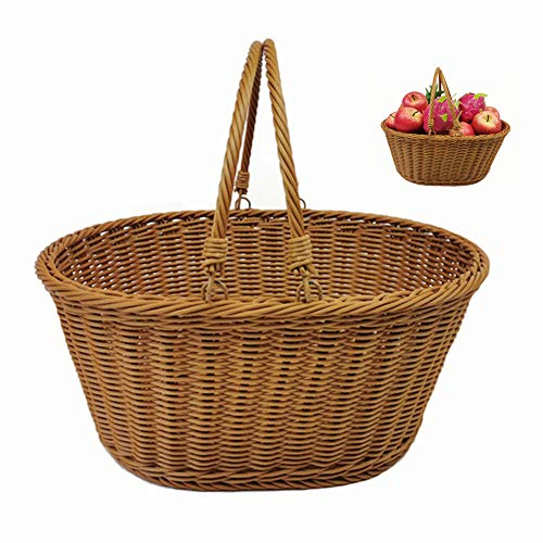 MOXIN Rattan Wicker Woven Picnic Basket Shopping Bags with Folding Handles - Hand Made Shopping Storage Bag - Storage of Eggs Vegetables Groceries Gifts,36 * 28 * 16cm