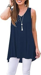Women's Summer Sleeveless V-Neck T-Shirt Tunic Tops...