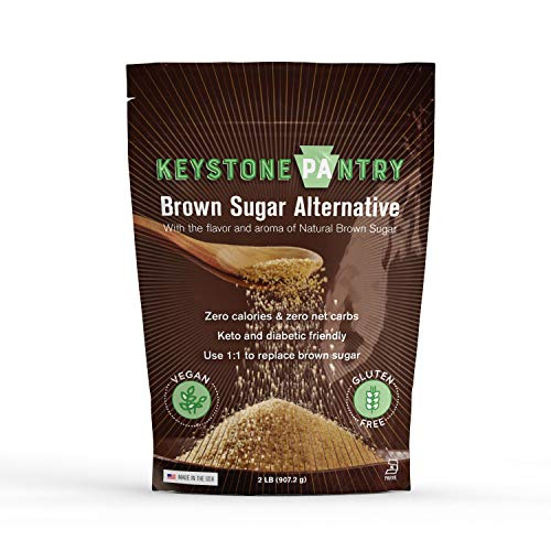 Keystone Pantry Sugar-Free Brown Sugar Substitute 2lb bag certified Kosher-parve (kof-k) Made with Erythritol perfect for Keto baking