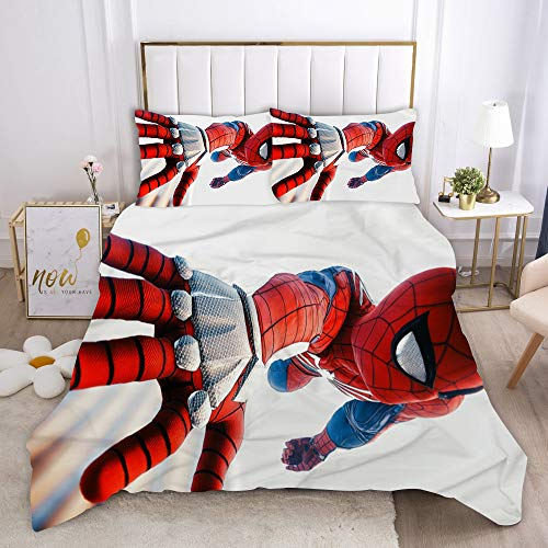 Goplnma - Ropa de cama infantil, diseño de Spiderman Superhero, Marvel Spider-Man Avengers, funda nórdica y funda de almohada, microfibra (140 × 210 cm, 3).