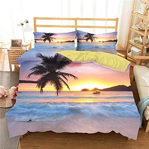 Ocean Beach Bettbezug Set 135X200 Doppelgröße Kinder Jungen Mädchen Bettwäsche Kollektion Sommer Tropical Island Sunset Waves Trösterbezug Einzel Doppel King Size Tagesdecke,135X200cm