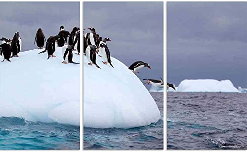ArtzFolio Gentoo Penguin Jumping Into Water from Iceberg Split Art Painting Panel On Sunboard 42.9 X 26.6Inch