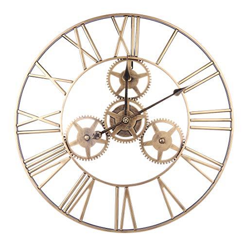 ZUJI 60CM Reloj de Pared Vintage Reloj de Pared Grande XXXL Reloj Silencioso para Decoración