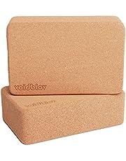 voidbiov Yogablokset van kurk, 22,5 cm x 14,5 cm x 7,5 cm, professionele blokken voor yoga, pilates, oefeningen thuis, gripvast, antislip oppervlak