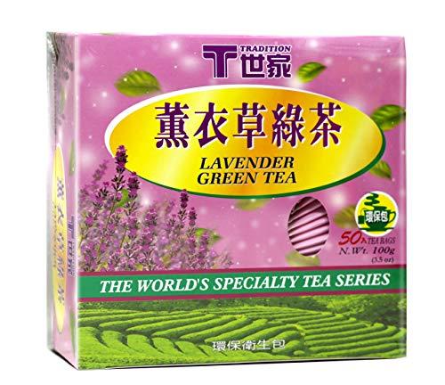 TRADITION Lavender Green Tea 50 Individual Wrap Tea Bags 3.5 Oz (100 g)
