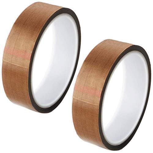 2 Stück Teflonband, Hochtemperaturband, Teflon-Klebeband für Vakuumiermaschine, PTFE Glasgewebeband/Glasklebeband, High Temp Klebeband, Hitzebeständig bis 260°C, 10mm x 10m, 20mm x 10mm