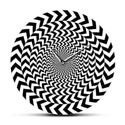 N/ A Ilusión de geometría Espiral Moderno Reloj de Pared hipnosis en Blanco y Negro Reloj de Pared Visual en 3D Barrido silencioso Arte Mural Abstracto