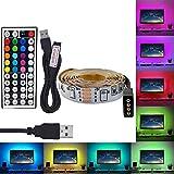 Placa de luz de Tira LED RGB 5V USB 2835 SMD 60Leds / M HD TV Pantalla de Escritorio Luz de Fondo 5M Tira de LED no Impermeable (Color: 24 Teclas USB Set, Tamaño: 5M)
