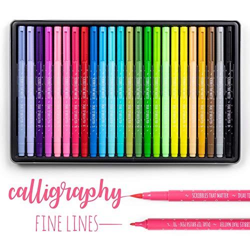 Pinselmarkierungsstifte mit zwei Spitzen von Scribbles That Matter - 24-Farben-Kunststift-Set - Pinsel und feine Spitzenmarkierungen - Bullet-Journal, Schriftzug, Färbung für Erwachsene, Kalligraphie