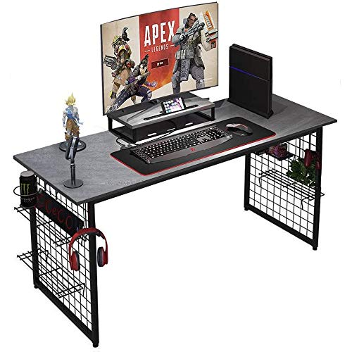 Need Computer Desk with Shelves - 60 Inches All-in-One Computer Table/Workstation with RGB LED Mouse Pad,Modern Industrial Office Computer Table with Monitor Stand AC18LB-152.4