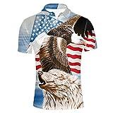 HUGS IDEA Modern Men's Golf Shirts Short Sleeves Sport Fashion T-Shirt (America Flag,Hawk, Wolf)