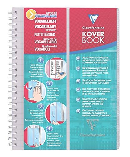 Clairefontaine 161820C - Un carnet de vocabulaire Koverbook 100 pages 14,8x21 cm 90g lignées avec marge + 2 rabats et 4 languettes amovibles, couverture polypro (plastique) Incolore