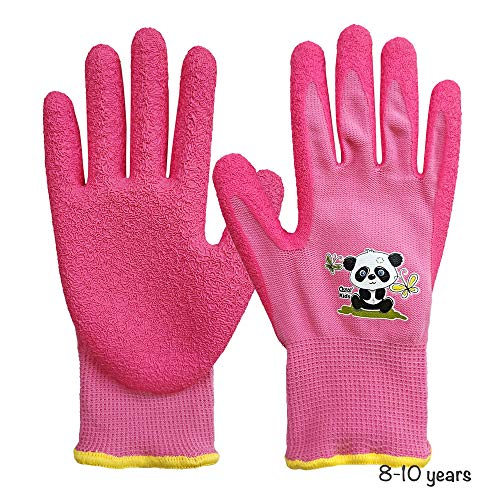 QEAR Safety Gartenhandschuhe für Kinder von 4 bis 7 Jahren und 8 bis 10 Jahren, Handfläche aus Gummi, widerstandsfähig gegen Wasser und Schmutz, rosa