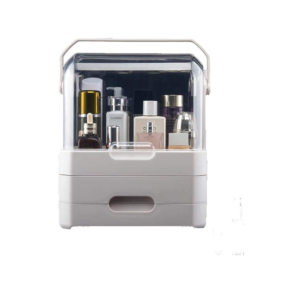 プリーツスナップ王子便利な化粧品収納ボックス、二重引き出し透明フリップ、多機能大型空収納ボックス,White,S