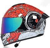 NZGMA Casco Bluetooth para Motocicleta, Lente antirreflectante Doble, antivaho, Casco Integral, micrófono Integrado, Rojo para Motocicleta, Scooter, Adulto, Hombre, Mujer, ECE/ECE, L = (59~2