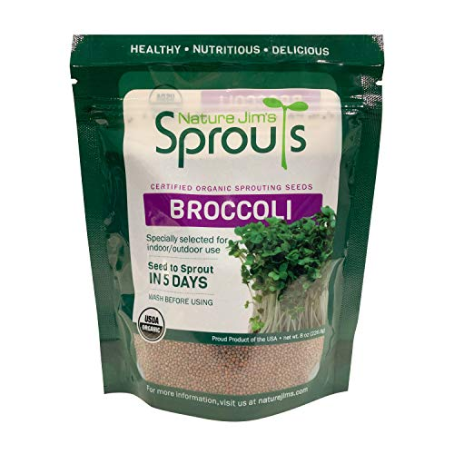 Nature Jim s Sprouts Broccoli Sprout Seeds - Certified Organic Broccoli Sprouting Seeds for Indoor Outdoor Use - Rich in Sulforaphane Healthy, Nutritious Broccoli Seeds Sprout in 5 Days - 8oz