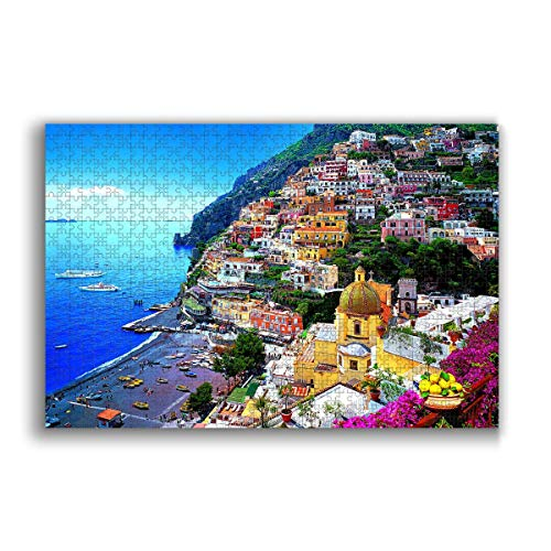 Jigsaw Puzzle 1000 Piece for Adults & Kids, Dreamy Positano Puzzles Intellectual Decompressing Fun Family Game Large Puzzle Game Toys Gift