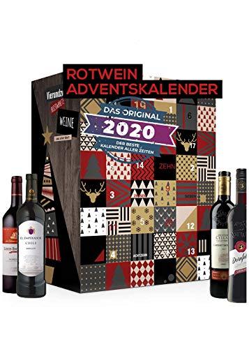 Rotwein Adventskalender mit 24 Weinsorten aus aller Welt | Rotweinkalender Geschenk für Erwachsene | Wein probieren