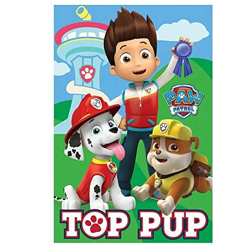 Blanket Manta con diseño de Paw Patrol, Top Pup (Escrito en inglés) Marshall, Rubble