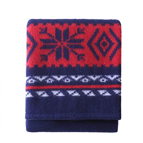 100% Pure Wool Blanket,Wool Blanket Camping,Wool Blankets Queen Size,Wool Blanket Twin,Queen Wool Blankets for The Bed,Wool Outdoor Blanket,Wool Blanket Full Size (Dark Blue, 8060in)
