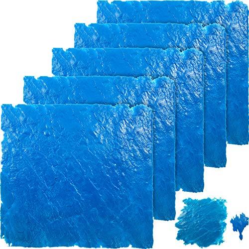 """VEVOR Concrete Texturing Skin, 36""""x36"""" Concrete Stamps Mats Set, Polyurethane Concrete Stamping Mats, Blue Slate Concrete Stamp, 6 PCS Realistic Concrete Texture Skin Mats for Cement Walls/Floors"""