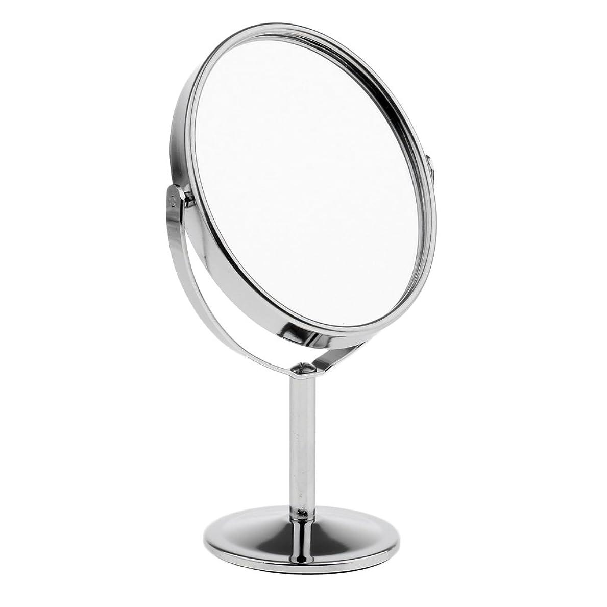 断線入手します掘るFutuHome ミニレディーガール美容メイクアップ卓上ミラー化粧品デュアルサイドノーマル+拡大鏡スタンドミラー6インチ高さ - 銀