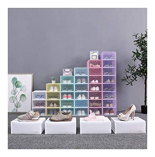 Wlbhb 6 Las Cajas de Zapato de Flip Engrosada Transparente Caja de Zapatos de plástico gaveta de (Color : Yellow)
