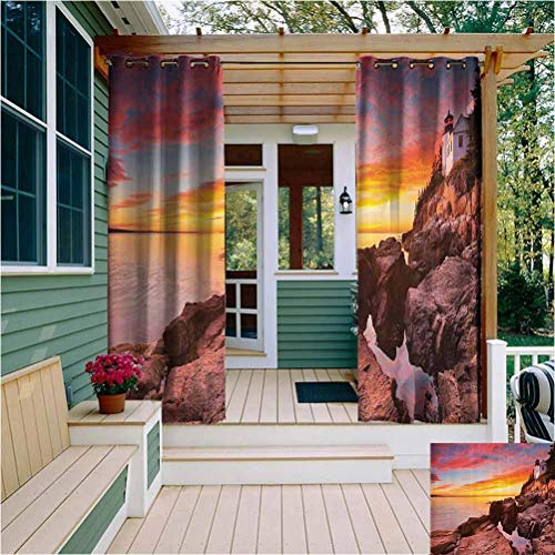 National Parks Home Decor Outdoor Privacy Curtain for Pergola Lighthouse on The Harbor Sea Shore with Horizon Sky New England Design Soundproof Shade Multi W72 x L84 Inch