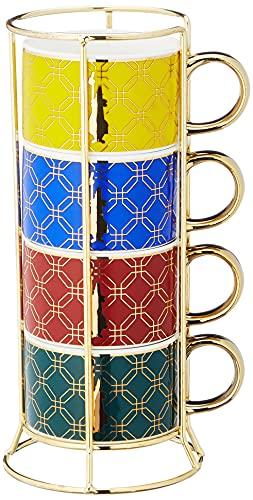 Bialetti Set 4 Tazze Cappuccino Impilabili, Collezione Marocco