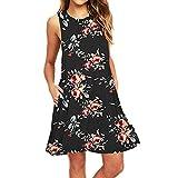 TUSANG Women Skirt Casual Sleeveless Printed Swing Mini Dress Sundress with Pocket Round Collar Loose Fit Comfy Dress