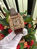 HHBB Hombres de lujo automático mecánico oro rosa negro zafiro acero inoxidable reloj helado diamantes 45mm Dial Aaa+oro marrón