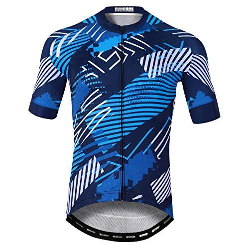 Panegy Maillot de Vélo Homme Vêtement VTT Manche Courte Tee Shirt Cycliste Été Séchage Rapide Respirant Rayures Bleues-L