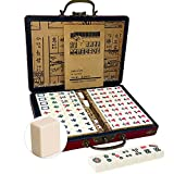 Chinese Mahjong Mah Jongg Set with 144 Mini Tiles Dot Dice Leather Box Extra White Tiles for Travel Family Game